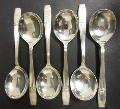 VINTAGE SET OF 6 SILVER PLATED WESTMINSTER SOUP SPOONS BY ELKINGTON & Co