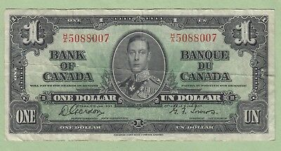 1937 Bank of Canada One Dollar Note - Gordon/Towers - H/A5088007 - VF