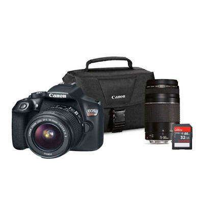 Canon EOS Rebel T6 DSLR Camera Lens Bundle w/ EF-S 18-55mm IS/EF75-300 III Lens