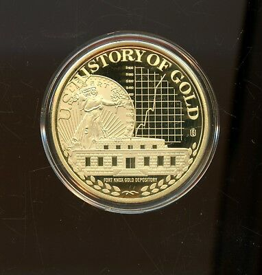 Excellent 2010 Proof History Of Gold Fort Knox Gold Vault Round w/CoA RB806