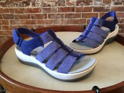 a281f799380 Clarks Blue Cloud Steppers Arla Shaylie Ankle Strap Comfort Sandal 7.5 New