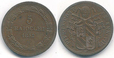 1852 Italian Papal States, Vatican, 5-Baiocchi Coin -- Almost Uncirculated ~