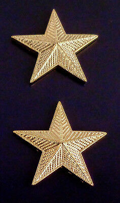 "1 star 1"" CORRUGATED GOLD Pair Collar Pins Rank Insignia police/chief/deputy"