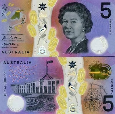 Australia 2016 Next Generation $5 Polymer Bank Note UNC