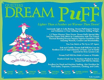 Quilters Dream Puff Craft Size Quilting Sewing Crafting Stuffing Puffy Batting