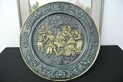 Vintage Brass Wall Hanging Decorative Plate English- People At Table Scene