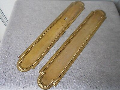 PAIR of FRENCH vintage  Brass CHATEAU Backplates PUSH Plates LOUIS XVI style