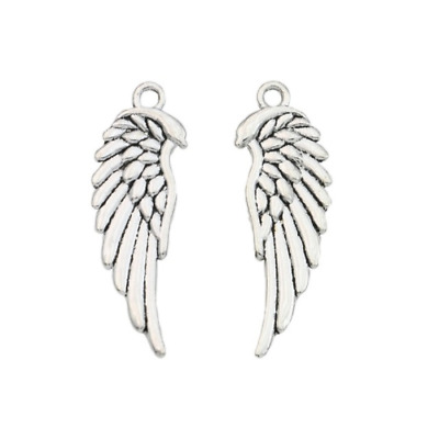 40Pcs Antique Silver Plated Angel Wings Charms Pendant Bead 33x12mm LL67