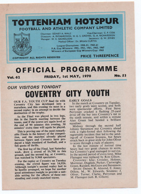 FA Youth Cup Final 2nd REPLAY 1970 Tottenham Hotspur Spurs v Coventry City