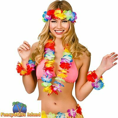 Aloha Hawaiin Glamour Four Piece Hula Girl Set Womens Fancy Dress Accessory