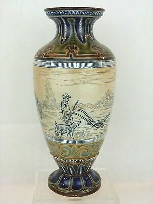 "A Large Rare Doulton Lambeth ""Plough Boy, Dog and Horses"" Vase by Hannah Barlow"