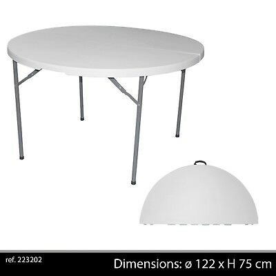 TABLE JARDIN PLIANTE Réception Ronde Valise Transportable Pliable ...