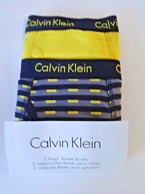 Calvin Klein Boys Boxer Briefs Size 8 10 2 Pack Yellow And Grey Print