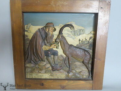 black forest hand carved  Wall  Plaque Hunter in the alps Ibex Love