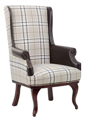 Chesterfield Queen Anne Style High Back Chair Leather Armchair Wingback Fireside