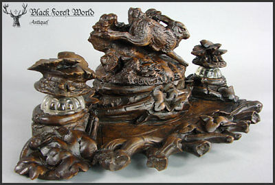 black forest carved wood rabbit inkwell awesome detailed