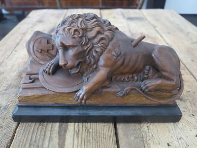 black forest carved wood lion lucerne wooden sculpture