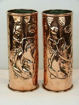 A Lovely Pair of Arts & Crafts Newlyn School Copper Vases -Fish, Seaweed &Shells