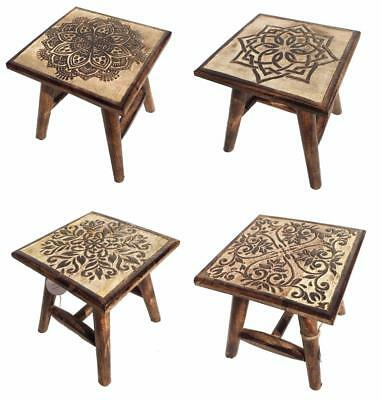 25cm Hand Carved Brown Mango Wood Square Wooden Stool Coffee Table 4 Designs