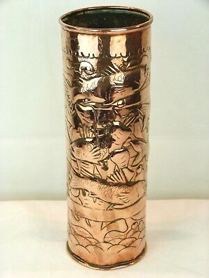 A Very Large Arts & Crafts Newlyn School Copper Vase -Fish, Seaweed, Bubbles-12""