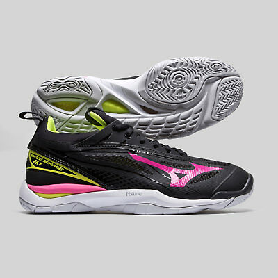 Mizuno Womens Wave Mirage 2.1 Netball Trainers Sports Shoes Black Footwear
