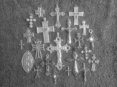 RELIGION JEWELRY 12 ASSORTED CROSSES & CRUCIFIXES Pewter Charms & Pendants New