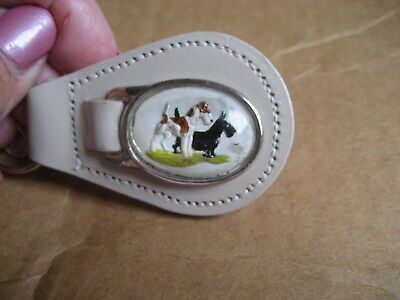 Fox Terrier or Jack Russell and Scottie Intaglio  Vintage leather KEY CHAIN Fob