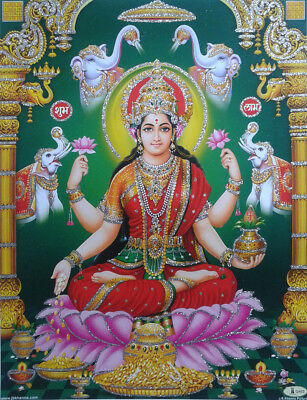 Devi Lakshmi Laxmi Maa - Printed POSTER with Glitter Effect (8.5 x 11 Inches)