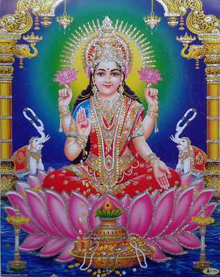 Devi Lakshmi Laxmi Maa - New POSTER Print with Glitter Effect 8.5 x 11 Inches