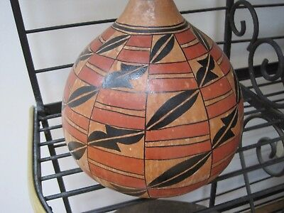 Exquisite Robert Rivera Hand Painted Acoma Pueblo Gourd - Signed  - Earth Tones