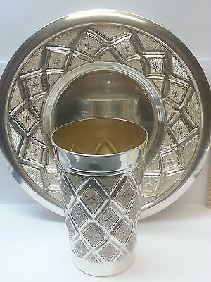 Silver Plated Wine Goblet! Beautiful Design Silver Plated Cup W/matching Plate!!