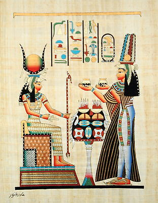 """Egyptian Papyrus Hand Made Artwork -12"""" x 16"""" - Queen Nefertari Offering To Isis"""