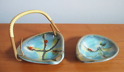 West German Pottery Small Ashtray x 2 Bamboo Handle Abstract Blue Yellow Gold