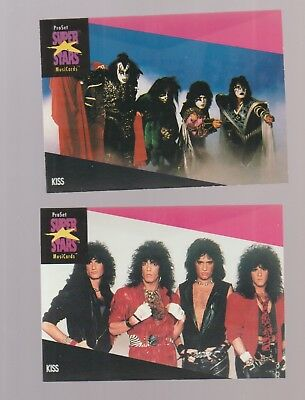Set of 2 KISS rock band trading cards Simmons Stanley Carr Frehley