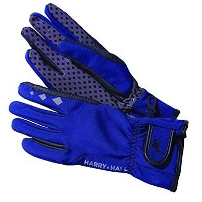 Harry Hall Soft Shell Gloves - Navy Blue, Large - Riding Soft Horse