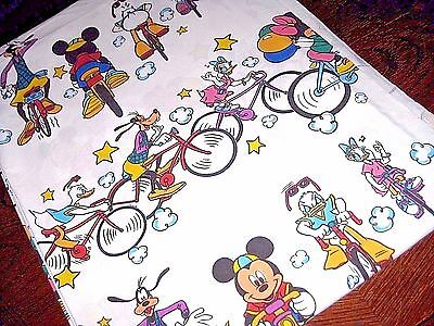 Vintage DONALD DUCK Bicycling with Friends TWIN Size Flat Bed SHEET Disney RARE!