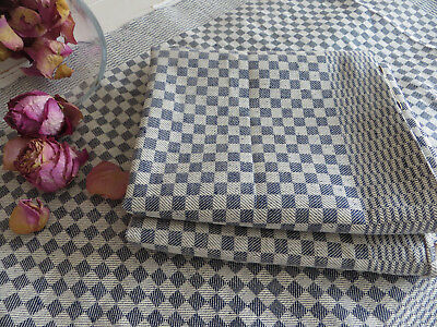 """Unused Set of 3 ( three ) White + Blue Checkerboard Linen Towels  19 """" by 39"""