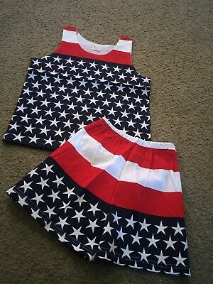 Child size L/XL red white blue stars striped 4th of July outfit set tank shorts