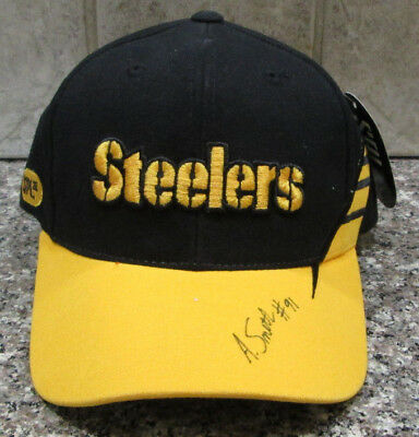 Rare Aaron Smith Auto Signed Brand New Spl 28 Cap hat Pittsburgh Steelers bf71dae7b