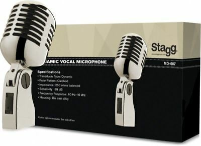 Stagg MD-007CRH - Old School Grill Style Chrome Microphone w/Cable and Case - NE