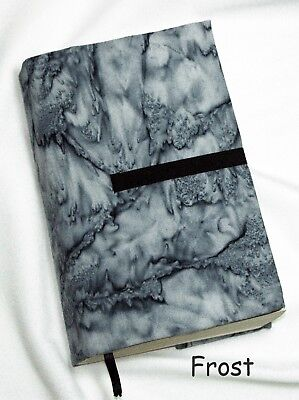 "8 x 5"" Fabric Book Cover- Adjustable Thickness.  ""Frost"" Print  Handmade in USA"