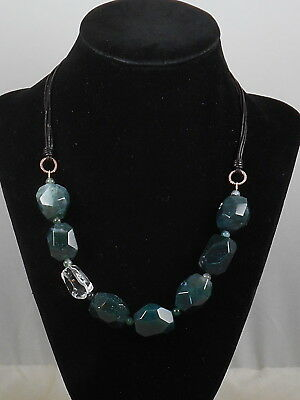 Barse Sterling Silver Moss Green Agate Druzy Chunky Stone Leather Necklace $48