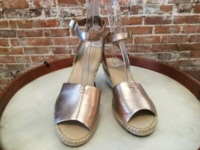 580b7039bc58 Clarks Artisan Metallic Leather Petrina Selma Espadrille Wedge Sandal 11 New