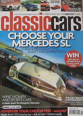 Classic Cars 03/2007 featuring Mercedes,VW Golf GTi, Peugeot, Ford GT40,DeLorean