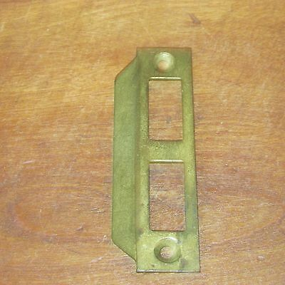 Antique Victorian Solid Brass Metal Strike Plate with a Wide Tongue