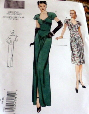 1940S VOGUE VINTAGE MODEL EVENING DRESS SEWING PATTERN 6-8-10 UNCUT ...