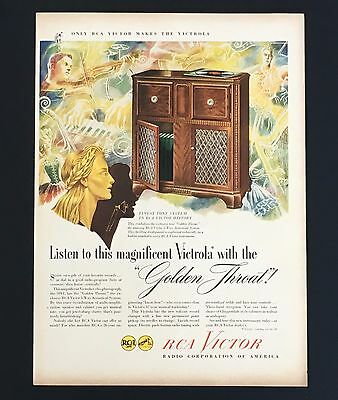 1946 RCA Golden Throat Advertisement Victrola Phonograph Radio Vintage Print AD