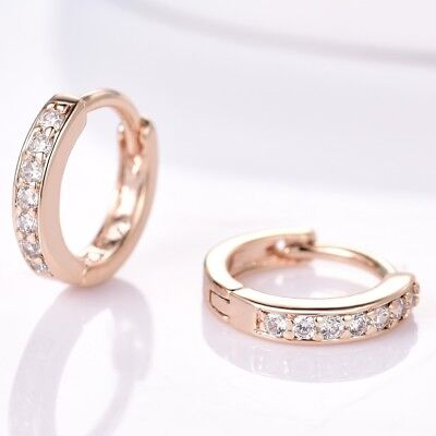 18K Yellow Gold Filled Small Round Hoop Stunning Women Topaz Crystal Earrings