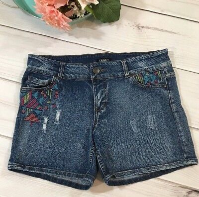 5cacf640e4 Celebrity Pink Jeans Womens Shorts Size 13 Junior Denim Distressed  Embroidered