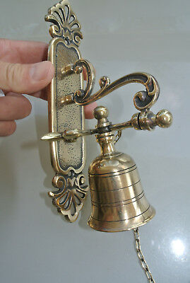 "Front Door Bell pull chain solid aged brass old vintage style 8.1/2 "" hang B"